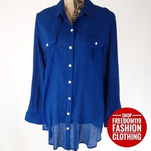Chico's | Tab Long Sleeve Button Blouse (L)